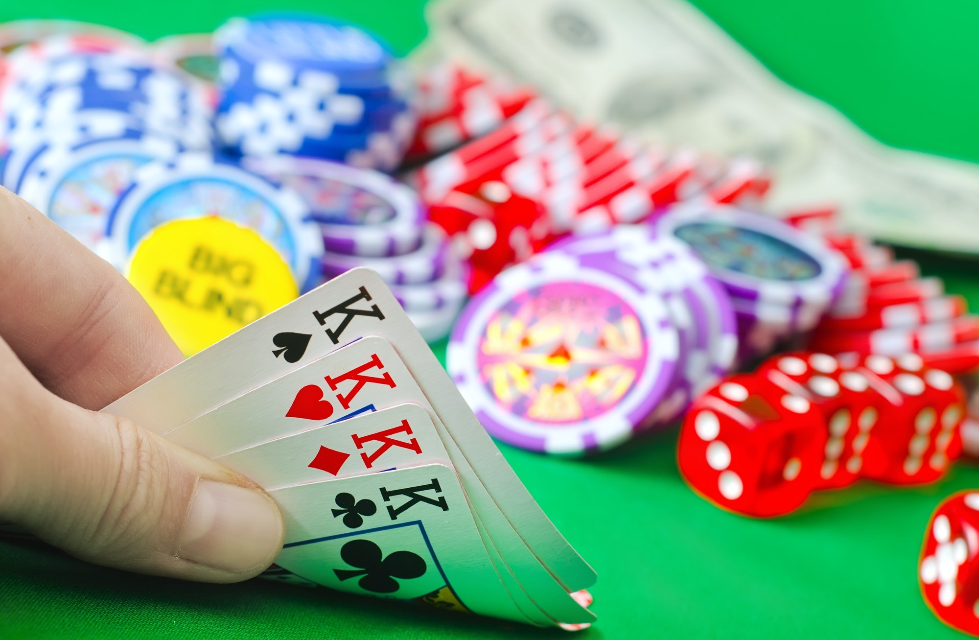 Card for poker in the hand, chips and card for poker