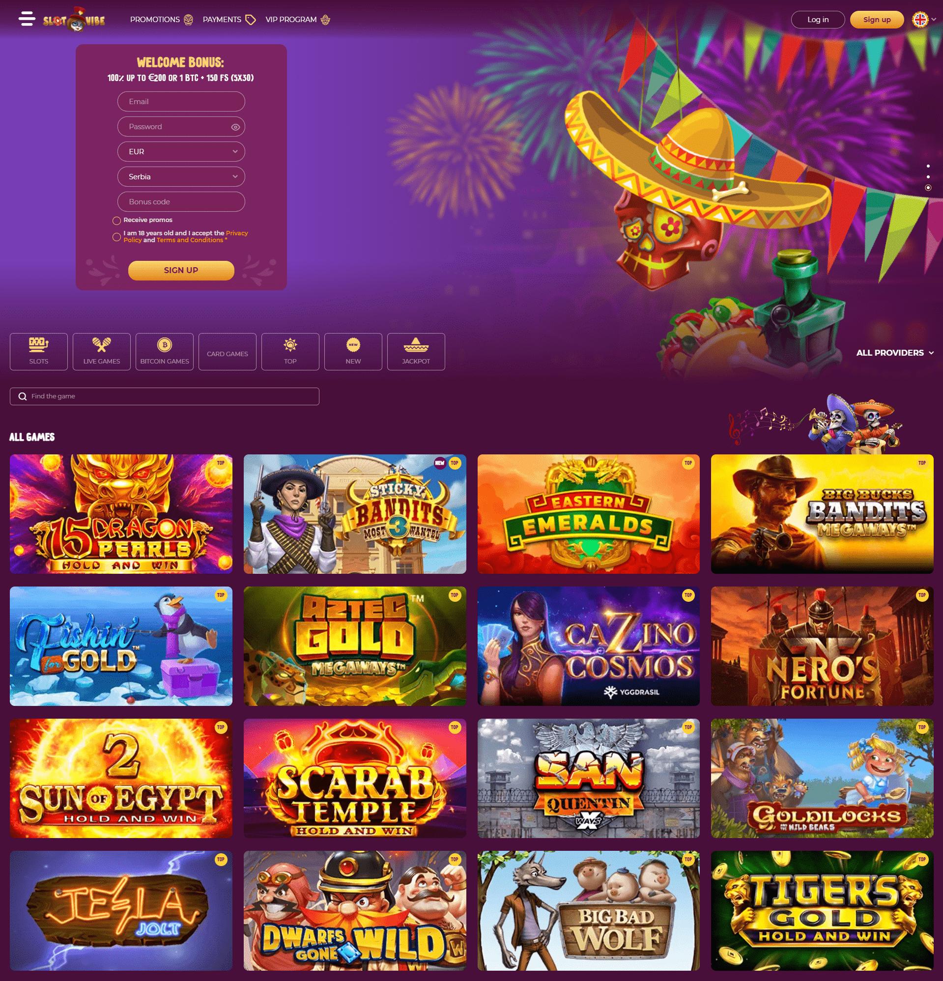Slot Vibe casino home page